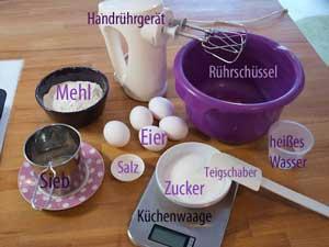 Auch hier habe ich im Bild Equipment vergessen >.<: Tortenheber, Pizzaschneider und Kuchenrost.