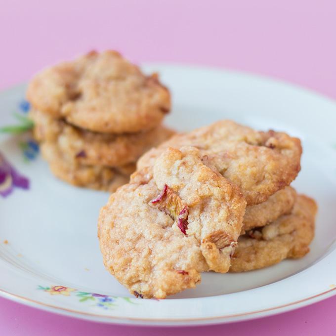 Rhabarber-Zitronen-Cookies (vegan)