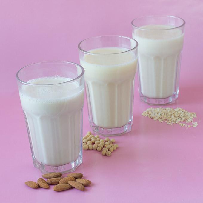 Selbstgemachte Sojamilch, Hafermilch und Mandelmilch
