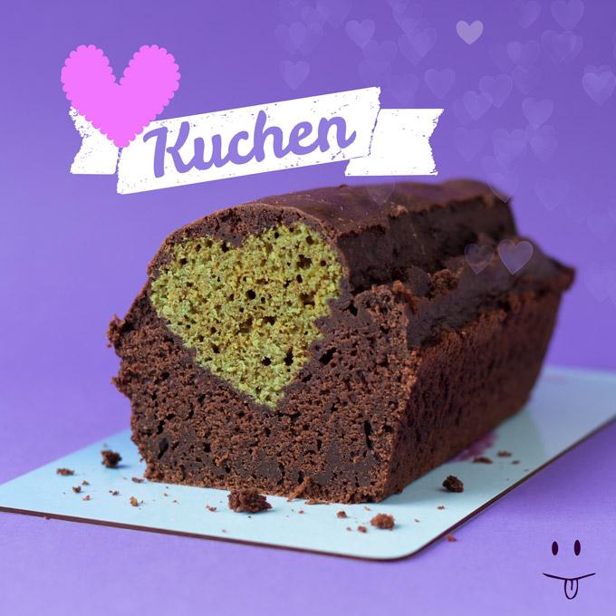 Matcha-Schoko-Herz-Kuchen